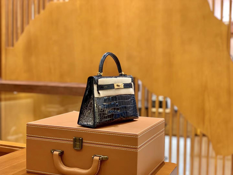 Hermès(爱马仕)迷你 2代 美洲鳄鱼皮 鸭仔蓝 全手工缝制 现货