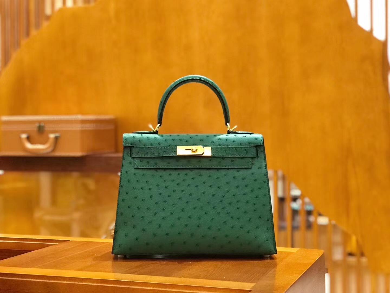 Hermès(爱马仕)Kelly 28cm 丝绒绿 金扣 南非kk级鸵鸟皮 原版蜜蜡线 顶级手工缝制