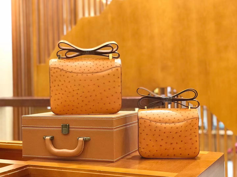 Hermès(爱马仕)Constance 23cm 金棕色 南非KK级鸵鸟皮 金扣 原版蜜蜡线 顶级手缝